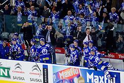 Bench of team KHL Medvescak Zagreb celebrate during ice-hockey match between KHL Medvescak Zagreb and HDD Tilia Olimpija in 42nd Round of EBEL league, on Januar 25, 2011 at Arena Zagreb, Zagreb, Croatia. (Photo By Matic Klansek Velej / Sportida.com)