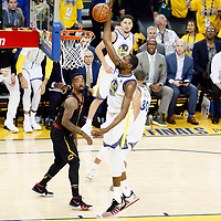 OAKLAND, CA - MAY 31: Kevin Durant #35 of the Golden State Warriors goes for the dunk in Game One of the 2018 NBA Finals won 124-114 in OT by the Golden State Warriors over the Cleveland Cavaliers at the Oracle Arena on May 31, 2018 in Oakland, California. NOTE TO USER: User expressly acknowledges and agrees that, by downloading and or using this photograph, User is consenting to the terms and conditions of the Getty Images License Agreement. Mandatory Copyright Notice: Copyright 2018 NBAE (Photo by Chris Elise/NBAE via Getty Images)