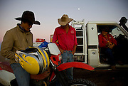 Brunette Downs Cattle Station is situated on the Barkley tablelands in Australia's Northern Territory. One of Australia's largest cattle stations..Getting motor bikes ready before early morning drafting after waking from stock camp.