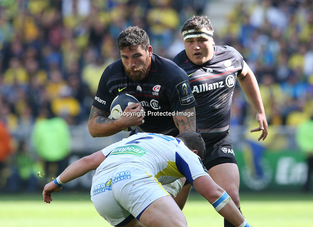 European Rugby Champions Cup Semi-Final, Stade Geoffroy-Guichard, Saint-Etienne, France 18/4/2015<br /> ASM Clermont Auvergne vs Saracens<br /> Saracens' Jim Hamilton<br /> Mandatory Credit &copy;INPHO/Billy Stickland