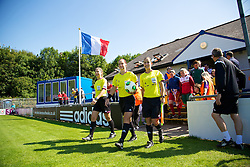 HAVERFORDWEST, WALES - Sunday, August 25, 2013: Referee Petra Chuda and her assistants Rocio Puente Pino and Giuliana Guarino during the Group A match of the UEFA Women's Under-19 Championship Wales 2013 tournament at the Bridge Meadow Stadium. (Pic by David Rawcliffe/Propaganda)