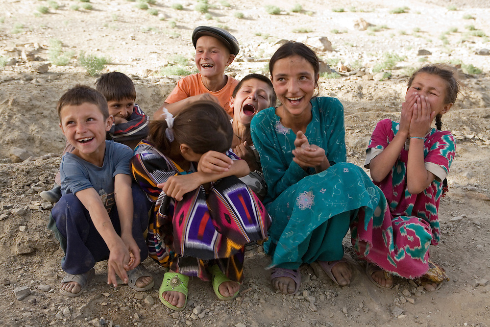 Group of laughing children, in a small village in the Wakhan Valley