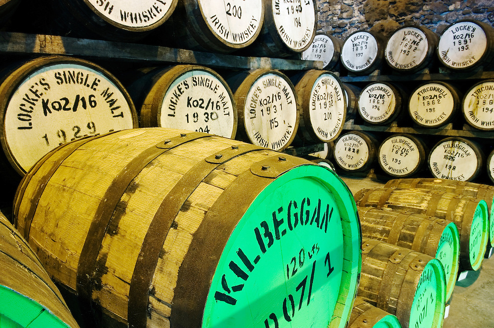 Irish whiskey matures in barrels in the warehouse of Locke's Distillery in the town of Kilbeggan, Westmeath, Ireland.