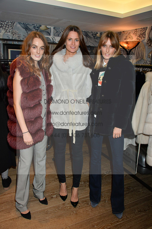 Left to right, LADY VIOLET MANNERS, KIM NAYAR and LADY ALICE MANNERS at the Mila Furs Trunk Show held at the Haymarket Hotel, 1 Suffolk Place, London on 1st November 2016.