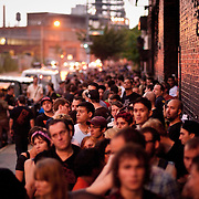 July 29, 2011 - Brooklyn, NY : A throng of concertgoer wait in line to enter the House of Vans at 25 Franklin Street in Greenpoint, Brooklyn on Friday night. Acts included the hardcore punk bands the 'Cro-Mags' and 'Fucked Up.' CREDIT: Karsten Moran for The New York Times