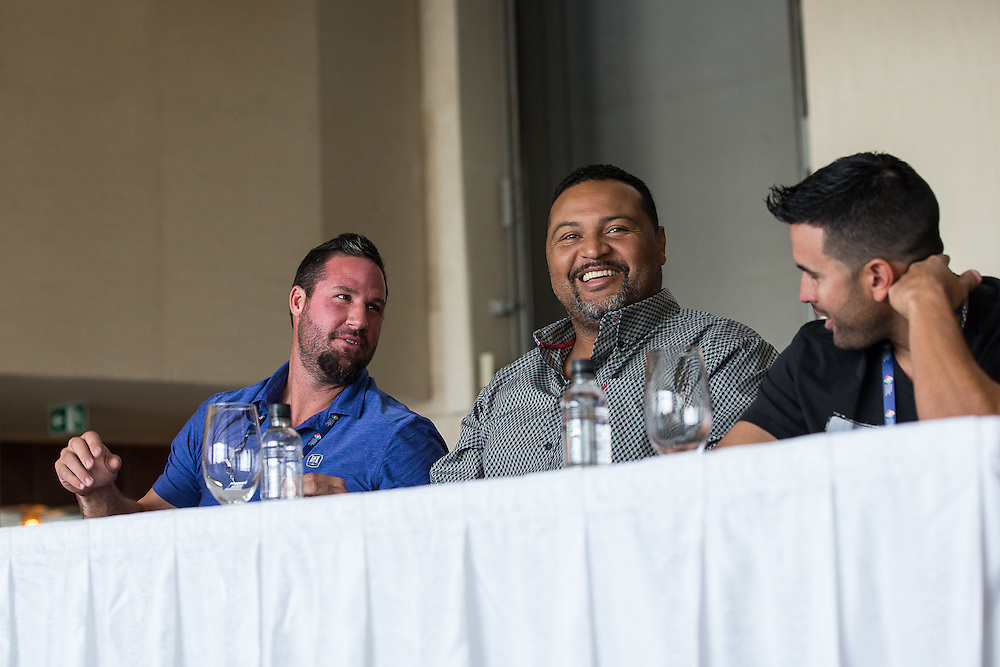 Eric Gagné, Carlos Lee and Luis Urueta, WBC Qualifier press conference, Panama, 2016.