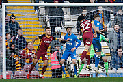 Bradford City defender Nat Knight-Percival (22) heads towards goal during the EFL Sky Bet League 1 match between Bradford City and Peterborough United at the Northern Commercials Stadium, Bradford, England on 9 March 2019.