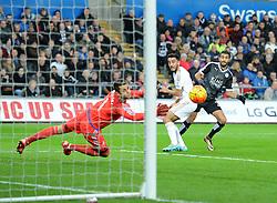 Riyad Mahrez of Leicester City scores to make it 2-0 - Mandatory byline: Alex James/JMP - 05/12/2015 - Football - Liberty Stadium - Swansea, Wales - Swansea City v Leicester City - Barclays Premier League
