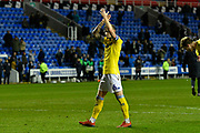 Liam Cooper (6) of Leeds United applauds the Leeds United fans at full time after a 3-0 win during the EFL Sky Bet Championship match between Reading and Leeds United at the Madejski Stadium, Reading, England on 12 March 2019.