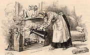 A maid pouring a jug of water on a fire in an attempt to prevent it setting the chimney alight.  Engraving from 'Le Journal de la Jeunesse' (Paris, c1879).