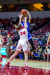 NORMAL, IL - January 03: Megan Talbot defends a shot by Jasmine Elder during a college women's basketball game between the ISU Redbirds and the Sycamores of Indiana State January 03 2020 at Redbird Arena in Normal, IL. (Photo by Alan Look)