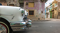 Colourful old buildings on a street corner Central Havana.