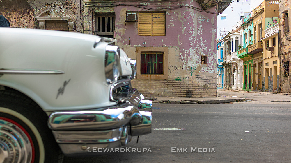 Colourful old buildings on a street corner Central Havana.