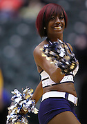 Feb. 21, 2012; Indianapolis, IN, USA; An Indiana Pacers cheerleader seen on the court during a timeout against the New Orleans Hornets at Bankers Life Fieldhouse. Mandatory credit: Michael Hickey-US PRESSWIRE
