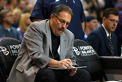 Jan 8, 2012; Sacramento, CA, USA; Orlando Magic head coach Stan Van Gundy sits on the bench before the game against the Sacramento Kings at Power Balance Pavilion. Orlando defeated Sacramento 104-97. Mandatory Credit: Jason O. Watson-US PRESSWIRE