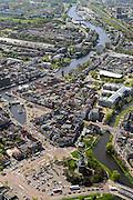 Nederland, Zuid-Holland, Leiden, 09-04-2014; binnenstad Morssingel en de molen De Valk.<br /> Diagonaal door beeld de Rijn die daar Galgewater heet met Molen de Put.<br /> Center of the city of Leiden with mills and the river Rhine.<br /> luchtfoto (toeslag op standard tarieven);<br /> aerial photo (additional fee required);<br /> copyright foto/photo Siebe Swart.