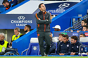 Chelsea Manager Frank Lampard looks at the scoreboard during the Champions League match between Chelsea and Valencia CF at Stamford Bridge, London, England on 17 September 2019.