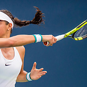 August 21, 2016, New Haven, Connecticut: <br /> Caroline Garcia of France in action during Day 3 of the 2016 Connecticut Open at the Yale University Tennis Center on Sunday, August  21, 2016 in New Haven, Connecticut. <br /> (Photo by Billie Weiss/Connecticut Open)