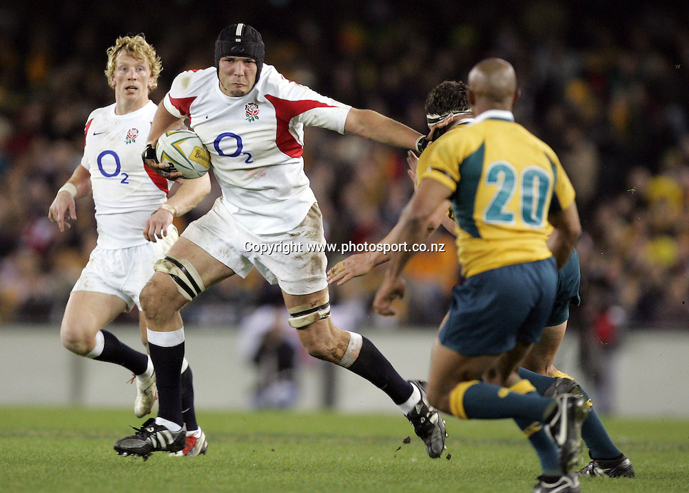 England lock Ben Kay during the second rugby union test match between Australia and England at the Telstra Dome, Melbourne, Australia on Saturday 17 June, 2006. Australia won the match 43-18 to win back the Cook Cup. Photo : Hannah Johnston/PHOTOSPORT<br /> <br /> <br /> <br /> <br /> 170606