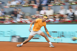 May 11, 2018 - Madrid, Madrid, Spain - RAFAEL NADAL misses the ball in a match against DOMINIC THIEM during the quarter finals of Mutua Madrid Open 2018 - ATP in Madrid. DOMINIC THIEM won the match 7-5(3) 6-3. (Credit Image: © Patricia Rodrigues via ZUMA Wire)