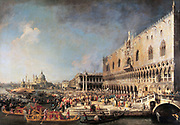 Arrival of the French Ambassador in Venice', c1740s. Oil on canvas.  Giovanni Antonio Canal (1697-1768) called Canaletto, Venetian painter. Italy Doge Palace Gondola Diplomacy Water Architecture