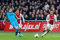 AMSTERDAM - 05-04-2017, Ajax - AZ, Stadion Arena, AZ speler Wout Weghorst, Ajax speler Kenny Tete