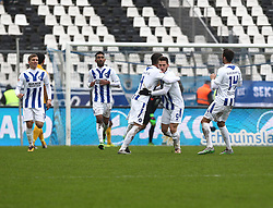 20.02.2016, Wildparkstadion, Karlsruhe, GER, 2. FBL, Karlsruher SC vs Eintracht Braunschweig, 22. Runde, im Bild Dimitris Diamantakos (Karlsruher SC) bejubelt seinen Treffer zum 2-2 mit Martin Stoll (Karlsruher SC) // during the 2nd German Bundesliga 22th round match between Karlsruher SC and Eintracht Braunschweig at the Wildparkstadion in Karlsruhe, Germany on 2016/02/20. EXPA Pictures © 2016, PhotoCredit: EXPA/ Eibner-Pressefoto/ Bermel<br /> <br /> *****ATTENTION - OUT of GER*****