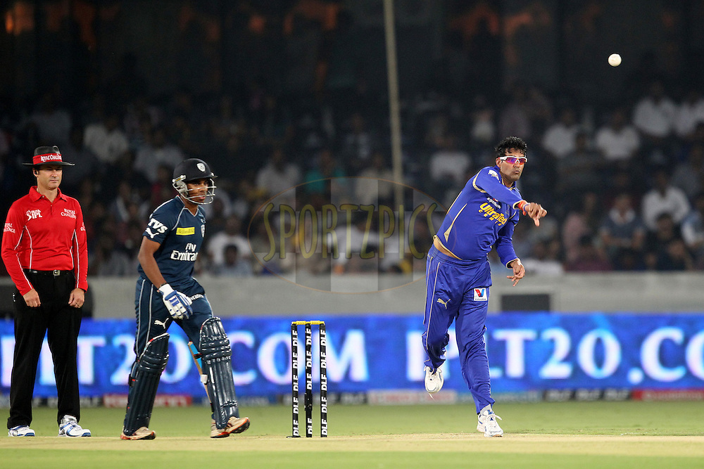 A. Chandila bowls during match 68 of the the Indian Premier League ( IPL) 2012  between The Deccan Chargers and the Rajasthan Royals held at the Rajiv Gandhi Cricket Stadium, Hyderabad on the 18th May 2012..Photo by Prashant Bhoot/IPL/SPORTZPICS