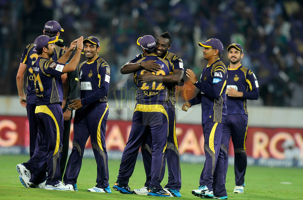 Andre Russell of Kolkata Knight Riders celebrates after getting Nasir Jamshed of Lahore Lions run out during match 7 of the Oppo Champions League Twenty20 between the Kolkata Knight Riders and the Lahore Lions held at the Rajiv Gandhi Cricket Stadium, Hyderabad, India on the 21st September 2014<br /> <br /> Photo by:  Pal Pillai / Sportzpics/ CLT20<br /> <br /> <br /> Image use is subject to the terms and conditions as laid out by the BCCI/ CLT20.  The terms and conditions can be downloaded here:<br /> <br /> http://sportzpics.photoshelter.com/gallery/CLT20-Image-Terms-and-Conditions-2014/G0000IfNJn535VPU/C0000QhhKadWcjYs