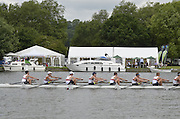 Henley, GREAT BRITAIN,  Princess Elizabeth Challenge Cup. Belmont Hill school USA leading Canford School during at the 1.1/8 mile post during  their Thursday race. 2012 Henley Royal Regatta. 2012 Henley Royal Regatta. ..Thursday  11:05:57  28/06/2012. [Mandatory Credit, Peter Spurrier/Intersport-images]...Rowing Courses, Henley Reach, Henley, ENGLAND . HRR.