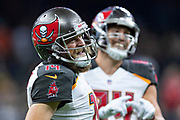 NEW ORLEANS, LA - SEPTEMBER 9:  Ryan Fitzpatrick #14 of the Tampa Bay Buccaneers smiles after a touchdown against the New Orleans Saints at Mercedes-Benz Superdome on September 9, 2018 in New Orleans, Louisiana.  The Buccaneers defeated the Saints 48-40.  (Photo by Wesley Hitt/Getty Images) *** Local Caption *** Ryan Fitzpatrick