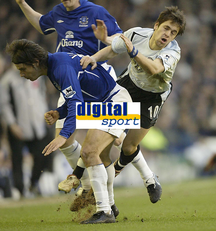 Photo: Aidan Ellis.<br /> Everton v Chelsea. The FA Cup. 28/01/2006.<br /> Chelsea's Joe Cole tumbles over Everton's N uno Valente