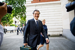 © Licensed to London News Pictures. 10/07/2017. London, UK. RHODRI PHILIPPS, the 4th Viscount St Davids, arrives at Westminster Magistrates Court in London on Monday, 10 July 2017 as he is accused of writing a threatening message about Gina Miller just four days after she won a High Court appeal against the Government over Brexit in November 2016. Photo credit: Tolga Akmen/LNP
