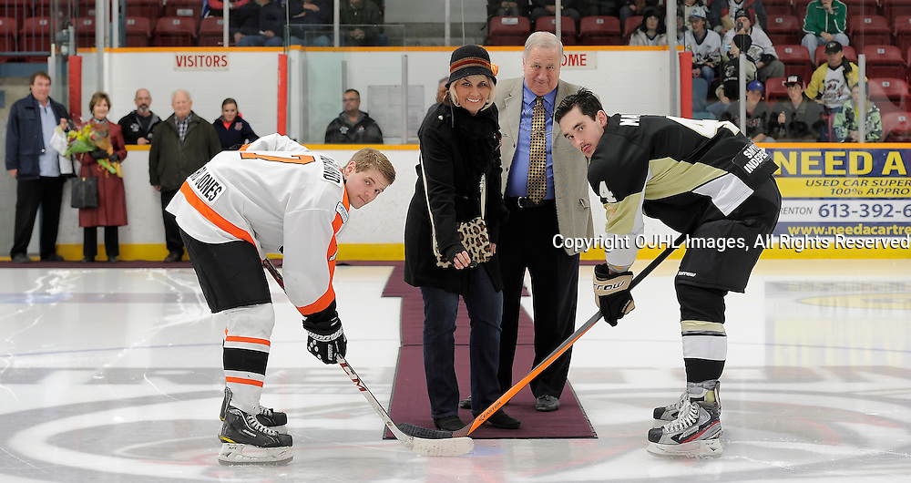 TRENTON, ON - Nov 15 : Ontario Junior Hockey League Game Action between Trenton Golden Hawks and Orangeville Flyers. Huff Family Puck Drop<br /> (Photo by Amy Deroche / OJHL Images)