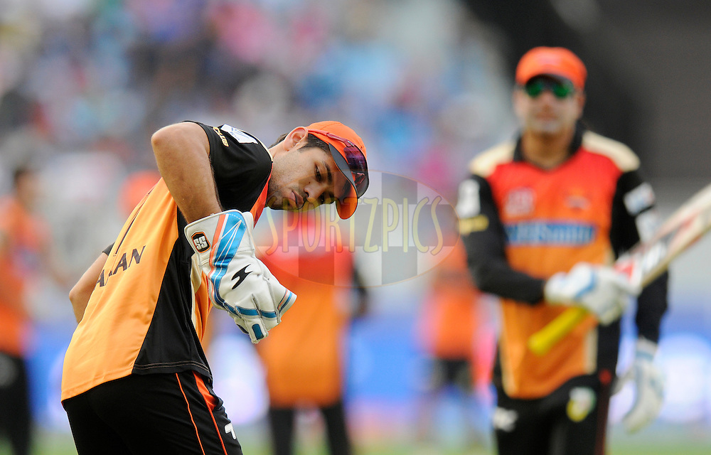 Karn Sharma of the Sunrisers Hyderabad during a practice session before the start of match 20 of the Pepsi Indian Premier League Season 2014 between the Mumbai Indians and the Sunrisers Hyderabad held at the Dubai International Stadium, Dubai, United Arab Emirates on the 30th April 2014<br /> <br /> Photo by Pal Pillia / IPL / SPORTZPICS