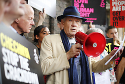 © Licensed to London News Pictures. 02/06/2017. London, UK. Sir IAN MCKELLEN and activists stage a protest outside the Russian Embassy in London, calling on the Russian authorities to fully investigate reports of a crackdown and torture on LGBTI people in Chechnya. Photo credit: Tolga Akmen/LNP