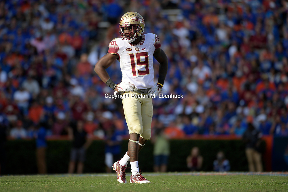 Florida State defensive back A.J. Westbrook (19) sets up for a play during the second half of an NCAA college football game against Florida Saturday, Nov. 25, 2017, in Gainesville, Fla. FSU won 38-22. (Photo by Phelan M. Ebenhack)