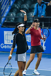 SHENZHEN, Jan. 5, 2019  Peng Shuai (R)Yang Zhaoxuan of China celebrate after winning the women's doubles final match against Duan Yingying of China and Renata Voracova of Czech Repoblic at the WTA Shenzhen Open tennis tournament in Shenzhen, south China's Guangdong Province, Jan. 5, 2019. (Credit Image: © Xinhua via ZUMA Wire)
