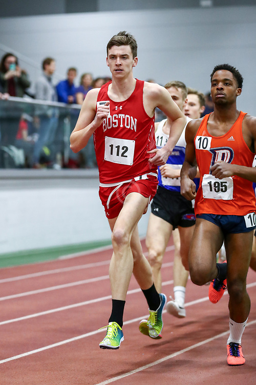 mens 3000 meters, BU, Zachary Prescott<br /> Boston University Scarlet and White<br /> Indoor Track & Field, Bruce LeHane