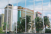KUALA LUMPUR, MALAYSIA - AUGUST 29, 2009: Reflection of the office buildings in the modern building windows in Kuala Lumpur, Malaysia.