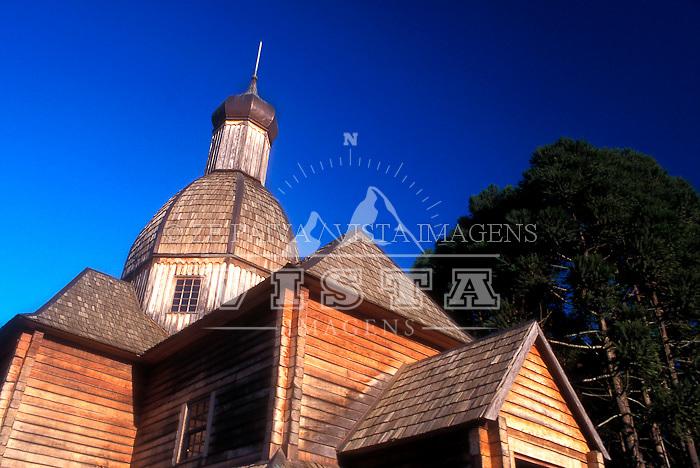Replica de capela ucraniana, Parque Tingui, Curitiba, Parana, Brasil, 20/10/2000 foto de Ze Paiva/Vista Imagens