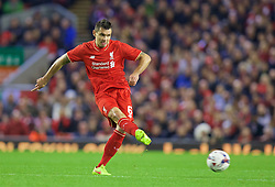 LIVERPOOL, ENGLAND - Wednesday, October 28, 2015: Liverpool's Dejan Lovren in action against AFC Bournemouth during the Football League Cup 4th Round match at Anfield. (Pic by David Rawcliffe/Propaganda)