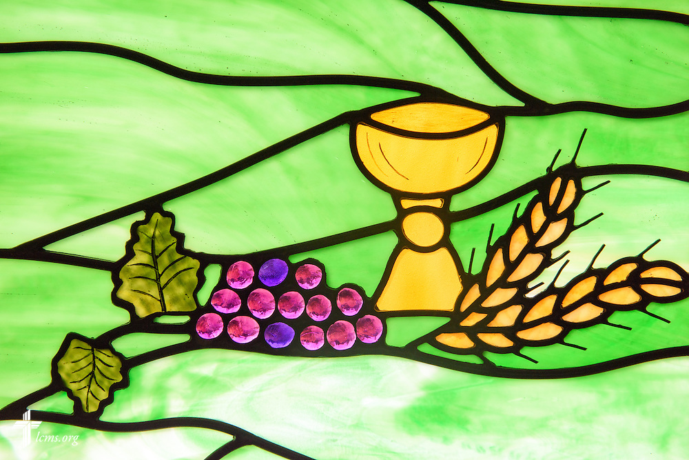 Stained glass of bread and wine at Mount Olive Lutheran Church, on Thursday, March 3, 2016, in Loveland, Colo. LCMS Communications/Erik M. Lunsford
