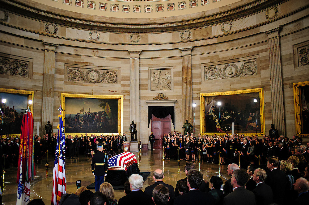 A military honor guard attends to the casket of the late Senator Daniel Inouye (D-HI) in the U.S. Capitol Rotunda before a service and public viewing on Thursday. Inouye passed away at the age of 88 on December 18 at the Walter Reed National Military Medical Center in Bethesda, Md. Inouye, 88, a decorated World War II veteran and the second-longest serving senator in history will lie in state until Friday when a memorial service will be held at the National Cathedral.