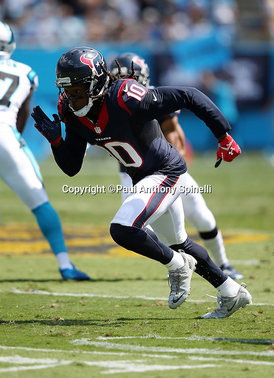 Houston Texans wide receiver DeAndre Hopkins (10) goes out for a pass during the 2015 NFL week 2 regular season football game against the Carolina Panthers on Sunday, Sept. 20, 2015 in Charlotte, N.C. The Panthers won the game 24-17. (©Paul Anthony Spinelli)