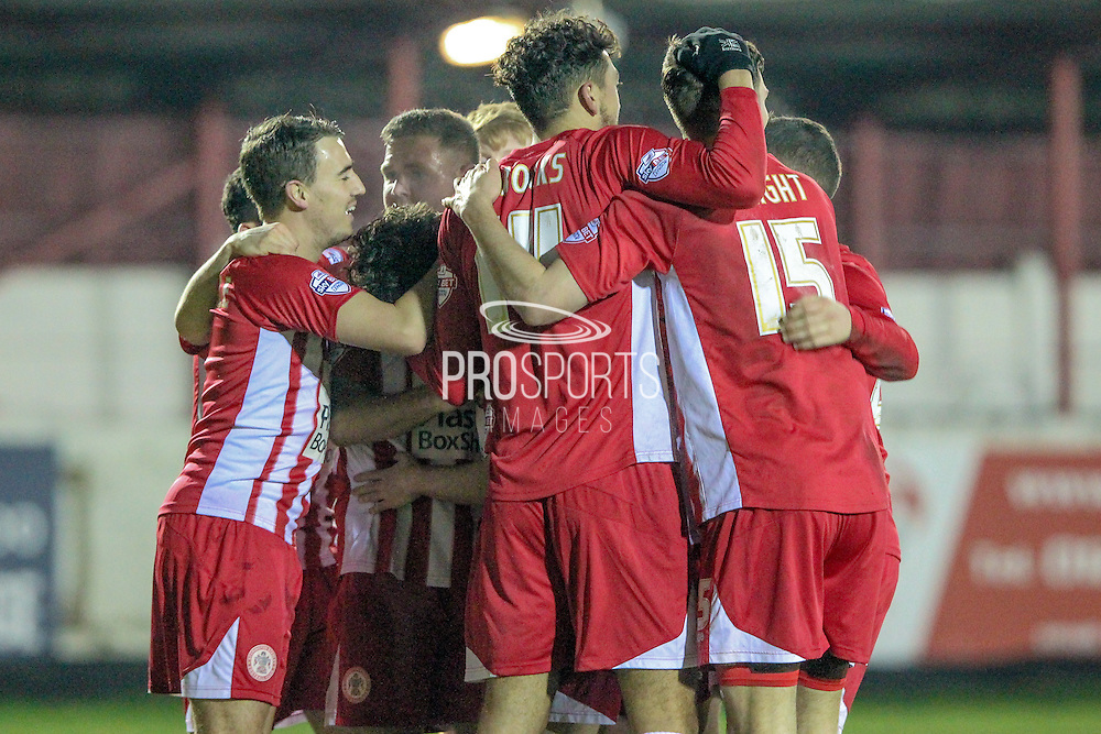 Accrington Stanley players celebrate Shay McCartan (Accrington Stanley) scoring their third during the Sky Bet League 2 match between Accrington Stanley and Hartlepool United at the Fraser Eagle Stadium, Accrington, England on 19 January 2016. Photo by Mark P Doherty.