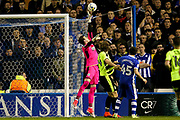 Huddersfield Town goalkeeper, on loan from Liverpool, Danny Ward (1) tips the ball over during the EFL Sky Bet Championship play off second leg match between Sheffield Wednesday and Huddersfield Town at Hillsborough, Sheffield, England on 17 May 2017. Photo by Simon Davies.