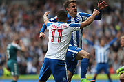 Brighton & Hove Albion striker Solly March (20) scores a goal 2-0 and celebrates with Brighton & Hove Albion winger Anthony Knockaert (11) during the EFL Sky Bet Championship match between Brighton and Hove Albion and Wigan Athletic at the American Express Community Stadium, Brighton and Hove, England on 17 April 2017.