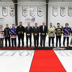 GEORGETOWN, ON  - APR 13,  2017: Ontario Junior Hockey League, Championship Series. Georgetown Raiders vs the Trenton Golden Hawks in Game 1 of the Buckland Cup Final. The 2017 OJHL Awards presentation held in a pre-game ceremony before game one of the Buckland Cup Championship Series, in Georgetown Ontario. The Award recipients pose for a group photo.<br /> (Photo by Tim Bates / OJHL Images)