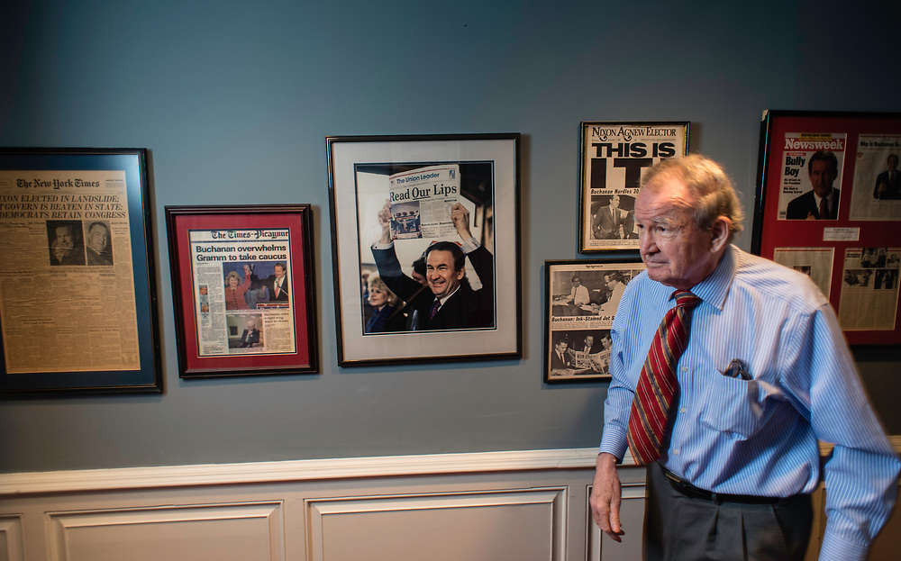 MCLEAN, VA -- 3/21/17 -- Buchanan keeps some framed memorabilia from his political career in the hallway leading to his office. Respected conservative commentator Pat Buchanan reflects on his career at his home in McLean. .…by André Chung #_AC24129